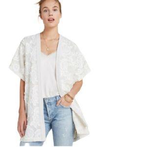 Anthropologie Akemi + Kin white cream kimono osfm